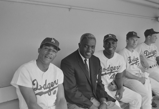 Jackie Robinson in the Dugout