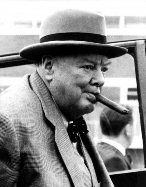Winston Churchill Candid with Cigar