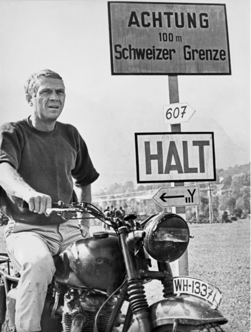 """Steve McQueen on Motorcycle in """"The Great Escape"""""""